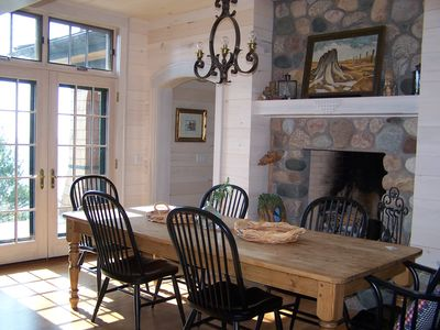 Dining room table and fireplace