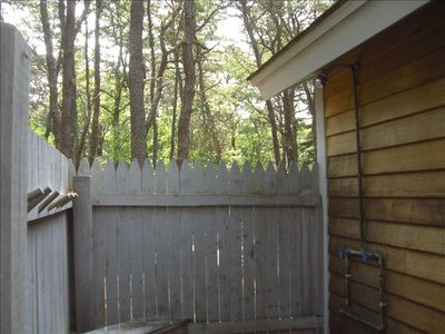 Wellfleet cottage rental - large outdoor private hot shower newly renovated and painted
