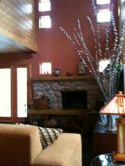 Michigan City house photo - Livingroom with wood burning stone fireplace...