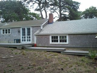 Truro house photo - Back of Deck and Walkway (table, grill and landscaping not in place yet)