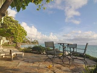 Lanikai house photo - Patio right on the beach. A wonderful place to sit and relax.