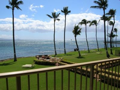 Maalaea condo rental - View from Lanai of the Unit with Gas BBQ and Eating Area