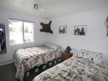 Seward house rental - One of the three bedrooms. This room has a double bed and a twin bed.