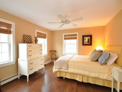 "The ""gold room"" has a queen bed. All bedrooms have ceiling fans for your comfort"