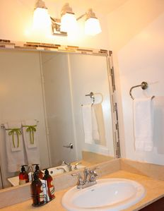 Fresh Clean and Crisp Bathroom with Tub Shower combo