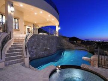 Mesa estate rental - Private Pool and Jaccuzzi on it's own level overlooking Phoenix Valley