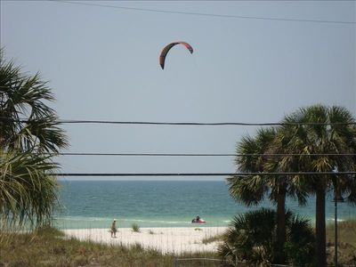 The beach across the street.  That's our neighbor kite-surfing!