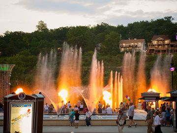Branson Landing, full of restaurants, shops, and a spectacular fountain
