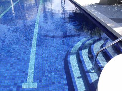 Beautiful tile work in our lap pool
