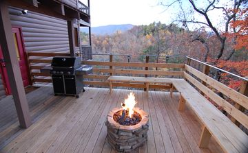 Wears Valley cabin rental - Deck with Gas Fire Pit, Gas Grill, Speakers, and Awesome View of the Smokies