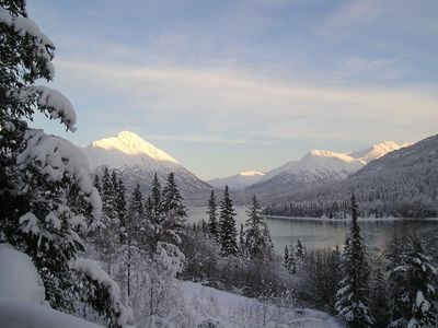Winter morning on Trail Lake -view from the chalets