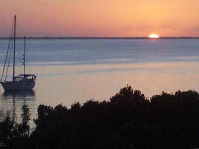 Enjoy the sunset on the Seaof Abaco from L'il Gecko's deck.