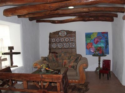 Las Cruces bungalow rental - Comfortable living area with great view of the pecan orchard.