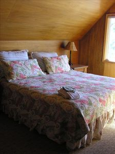 Upstairs king bedroom overlooking lake
