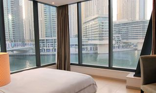 Dubai Marina & Al Sufouh apartment photo - Bedroom with marina view