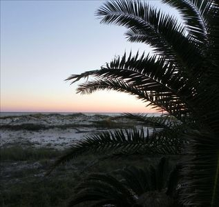 View from Pool of dunes and sunset
