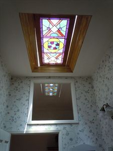Stained Glass Skylight in Upstairs Bathroom