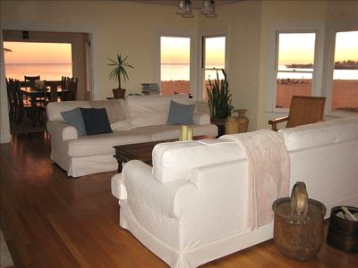 Living room with expansive views of beach
