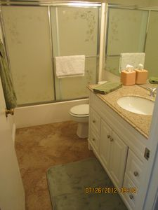 Bathroom. Remodelled in 2011 with new tile floor 2012