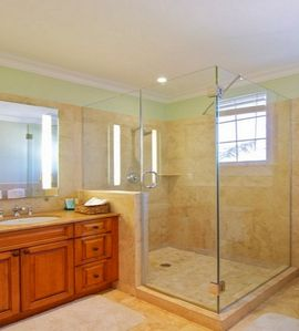 Bathroom 2, shower, granite double vanities