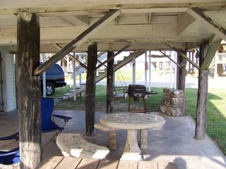 Galveston house photo - Ground level BBQPits and tables
