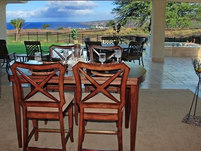 Inside Dinging Area and Lanai Dining Area View of Pacific Ocean