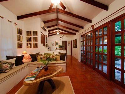 Playa Grande house rental - Comfy living room with french doors to the garden.