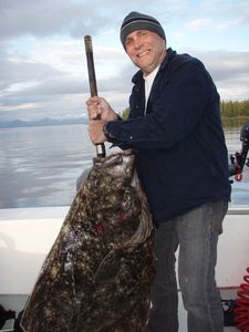 Ray with a local halibut