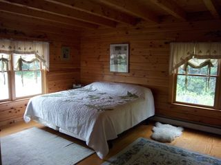 Trenton cabin photo - First floor bedroom with king bed, walk-in closet, and en-suite full bath.