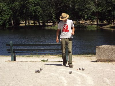 Petanque in square outside 'Riverside House'
