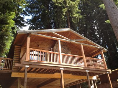 Russian river log cabin recently renovated vrbo for Russian river cabins guerneville