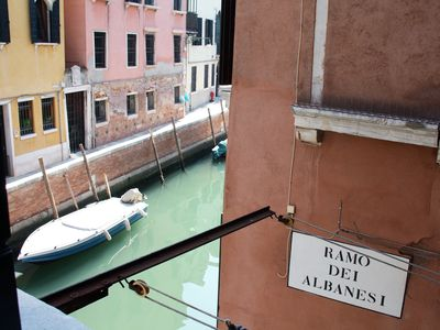 The name of our street at the corner with canal San Andrea from one window