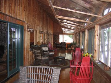 60 foot Long Porch Overlooking Crescent Lake