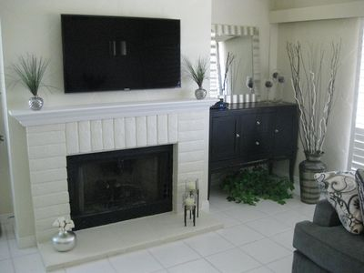 close-up of living room fireplace
