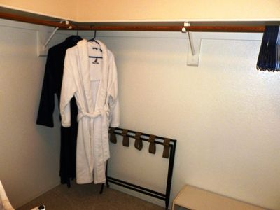 Luxurious Nautica robes in Master walk-in closet for your use.