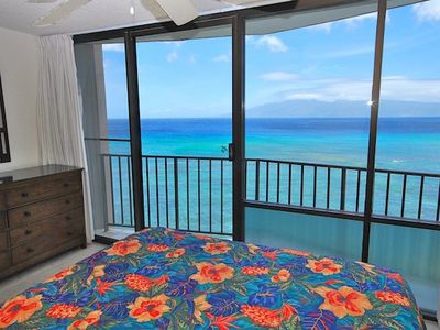 Kahana condo rental - Incredible Views from Master Bedroom Southward of Island of Lanai and Pacific