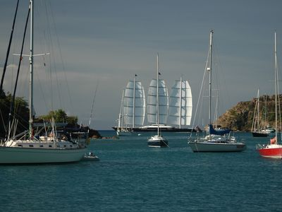St. Paul villa rental - The Maltese Falcon leaving Falmouth Harbour