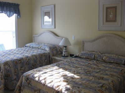 Bedroom #2 has 2 double beds, private bath with walk in shower and 24 inch TV