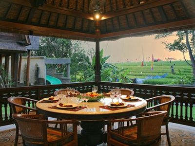 Dining gazebo overlooking ricefields and pool