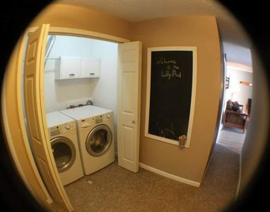 Front loading washer and dryer.