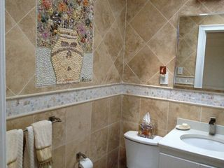 Westhampton house photo - Another view of bathroom, with shell mosaic.