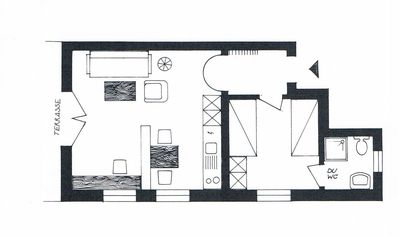 Layout of one-bedroom apartment