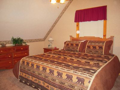 Private upstairs getaway with King bed and full bath in this charming log cabin