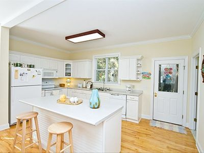 Kitchen Island, shows the spaciousness of this home.  Room for 3 families.