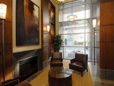 The entrance lobby in our building, The Astoria, in downtown Victoria, BC
