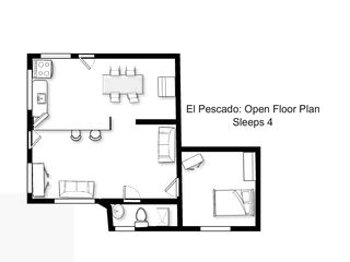 Ocean Park apartment photo - The layout of the unit. Both couches fold out to comfortable full size beds