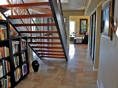 La Jolla house rental - Downstairs hallway, light and bright, open view of stairs to second floor