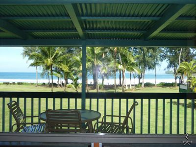 View from the living room windows of Hanalei Bay