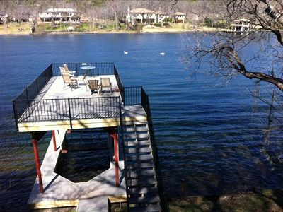 Boat Dock viewed from house deck on Lake Austin.