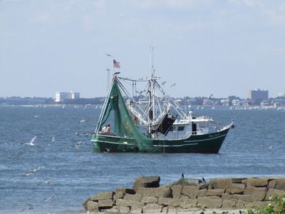 Shimp boat heading back to port - taken from property